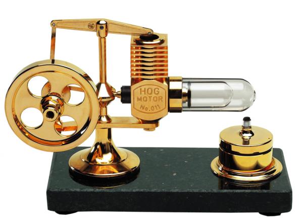 Stirling Motor Granitplatte 24 Kt vergoldet